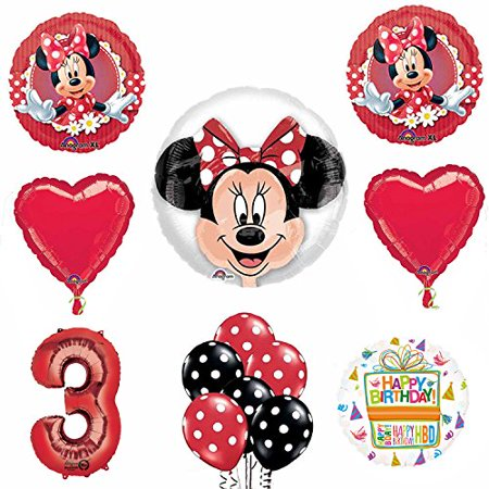 Minnie Mouse 3rd Birthday Party Supplies and Red Bow 13 pc Balloon Decorations (Minnie Mouse Birthday Decorations)