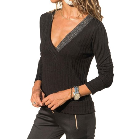 c5b5fc34c4 DRESSWEL Women V Neck Long Sleeves Solid Color Slim Fit Bottoming Shirt
