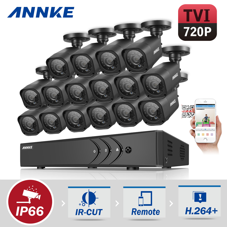 ANNKE Security Camera System  16CH TVL 1080P Video Surveillance kits 16Pcs 720P AHD Weatherproof Outdoor CCTV Camera(0-NO HDD,2-2TB HDD)