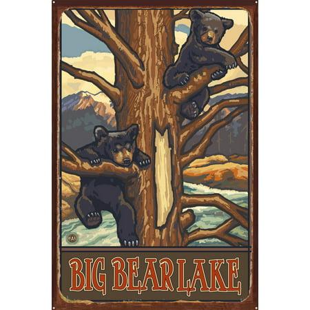 Big Bear Lake Rustic Metal Art Print by Paul A Lanquist 24 x 36