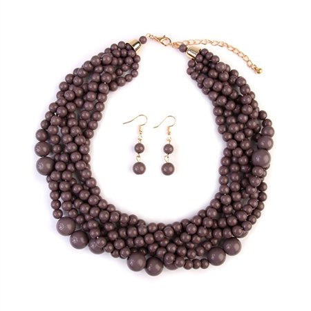 Multi Strand Bubble Choker Necklace and Earring Set ()