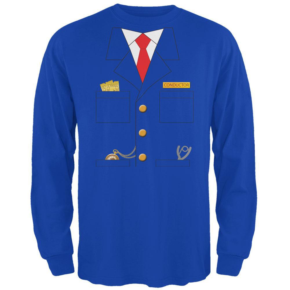 Halloween Train Conductor Costume Royal Adult Long Sleeve T-Shirt