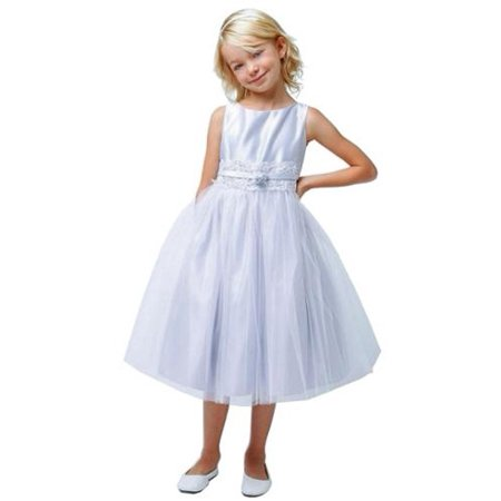 Sweet Kids Girls Silver Satin Lace Bow Accented Tulle Dress 12 - Girls Silver Dresses