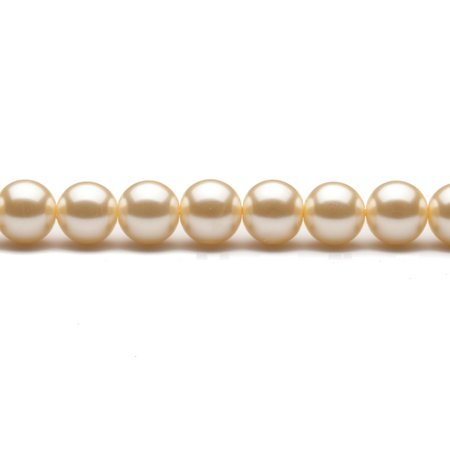 12mm Round Cream-Tone Champagne Glass Pearls 16Inch Sting 38-Bead Count