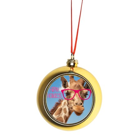 Hipster Giraffe - Hippie Holidays Bauble Christmas Ornaments Gold Bauble Tree Xmas Balls - Walmart.com