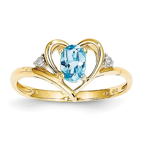 14k Yellow Gold 6x4 Oval Diamond & Blue Topaz Ring. Gem Wt- 0.54ct by Jewelrypot