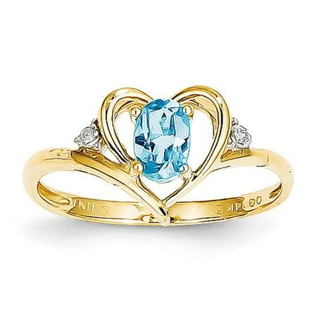 14k Yellow Gold 6x4 Oval Diamond & Blue Topaz Ring. Gem Wt- 0.54ct 14k Yellow Gold Citrine Ring