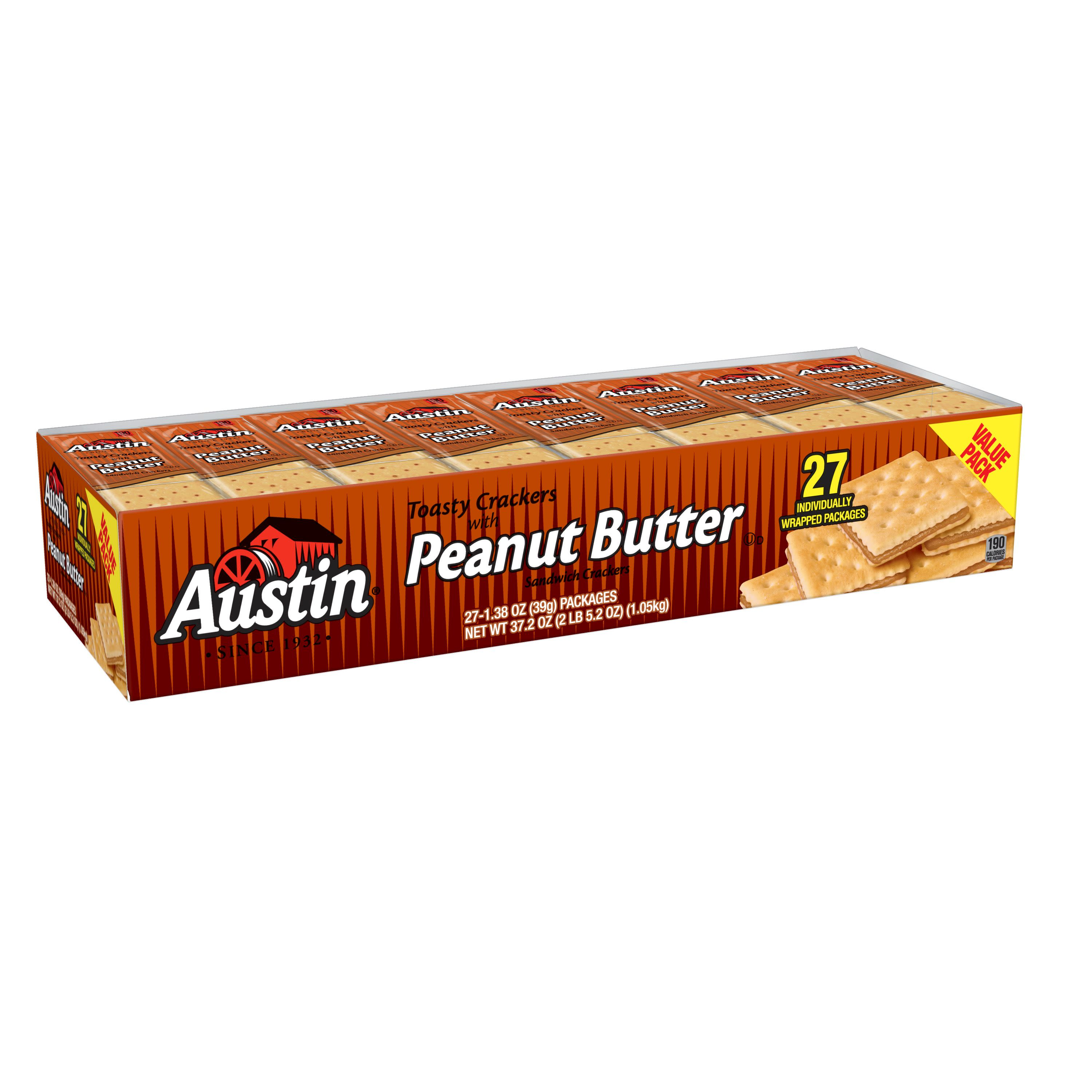 Austin Sandwich Crackers Toasty Crackers with Peanut Butter Value Pack 37.2 oz 27 Ct