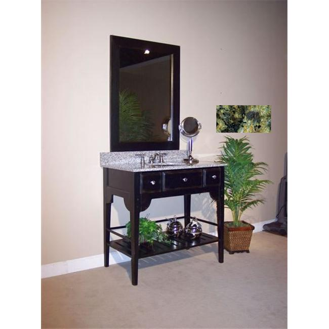 Kaco International 340-2400-B-GN Dover 24 inch Vanity with Distressed Black Krylon Finish and Green Granite Top