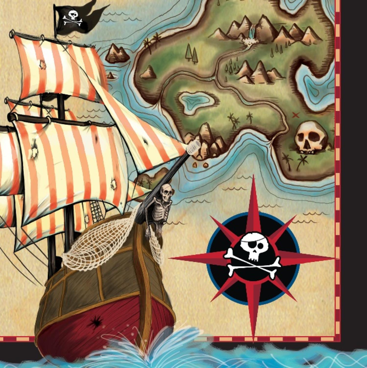 """Club Pack of 192 Pirate's Map Disposable Paper Party Napkins 6.5"""""""