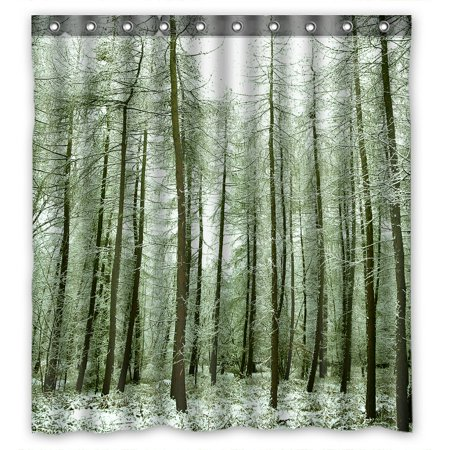 PHFZK Nature Shower Curtain, Winter Scene Snow Tree Trunks Forest Landscape Polyester Fabric Bathroom Shower Curtain 66x72 inches ()