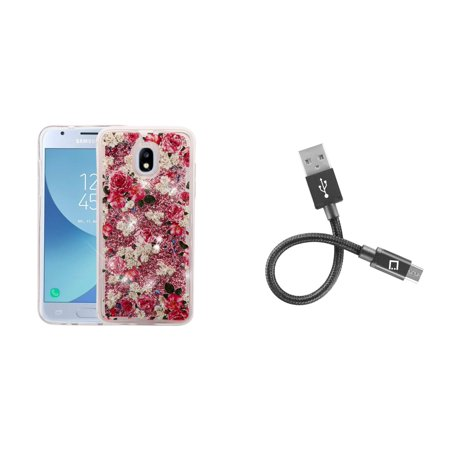 Cloth Covered Cable (Liquid Glitter Flowing Quicksand Protective Cover Case (Roses/Pink) with Short Nylon Braided USB-A to Micro USB Cable (4 inches) and Atom Cloth for Samsung Galaxy J3, J3 V 3rd Gen 2018)
