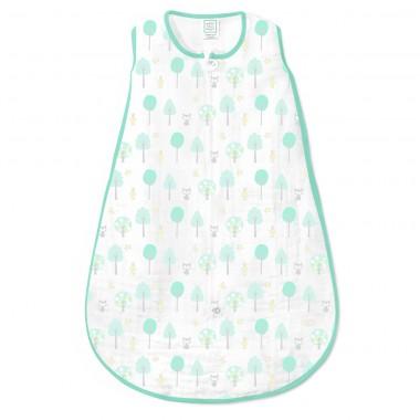 SwaddleDesigns Cotton Muslin Sleeping Sack with 2-Way Zipper, Green Woodland, Medium
