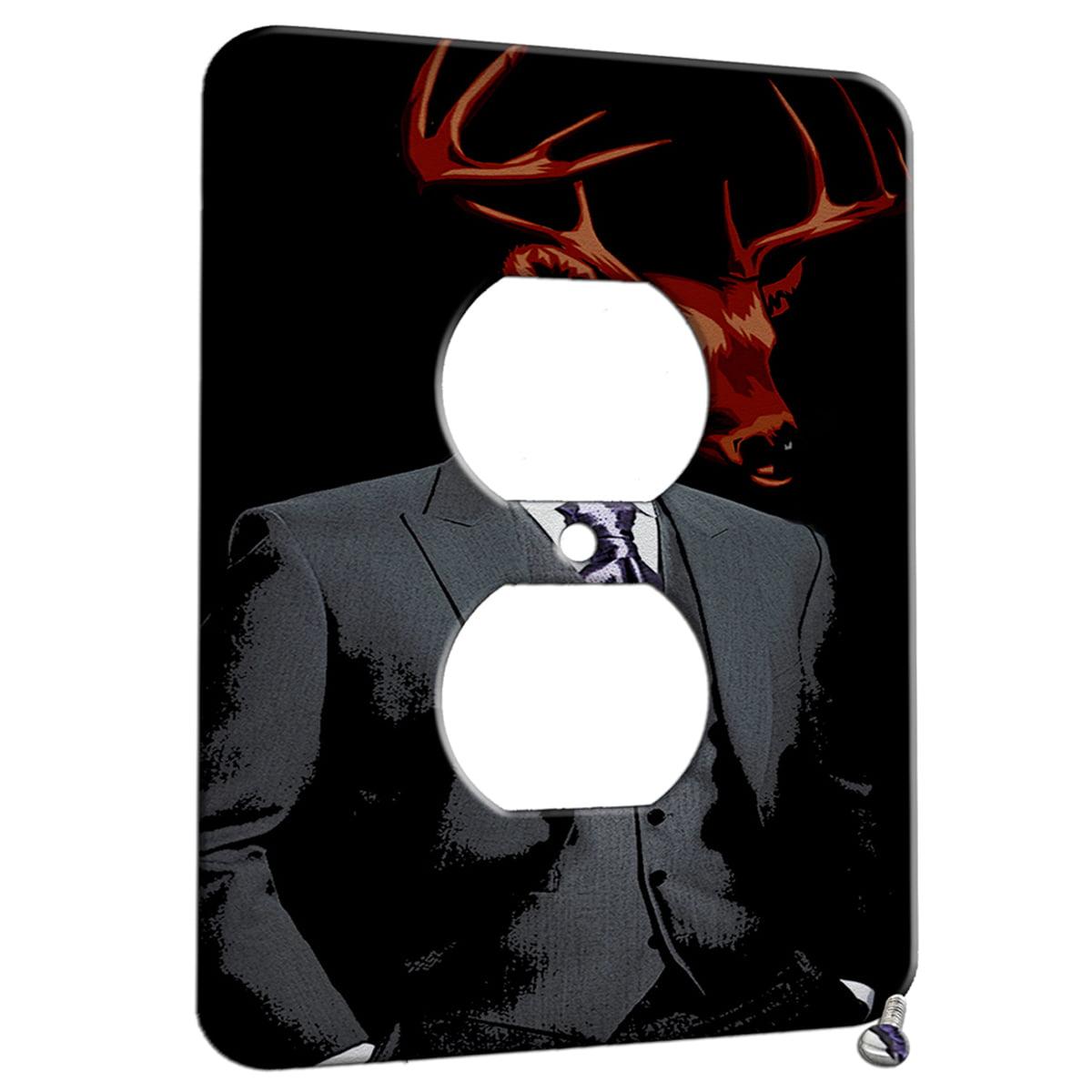 Dapper Deer Suit Design 1 Gang Duplex Outlet Wall Plate Metal Walmart Com Walmart Com