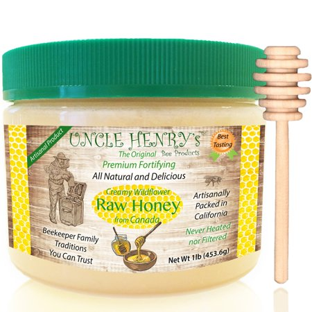 Raw Honey from Canada, 1 Best Taste Creamy Premium Fresh Farmers Market Quality. Big 1lb Double-Sealed Artisan California Product, Original Green Lid