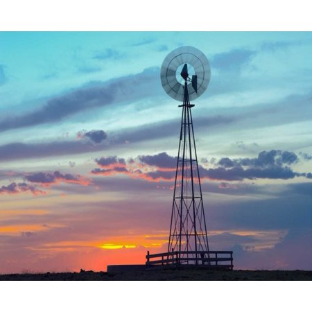 Windmill Producing Electricity At Sunset Example Of Renewable Energy North America Poster Print By Tim Fitzharris
