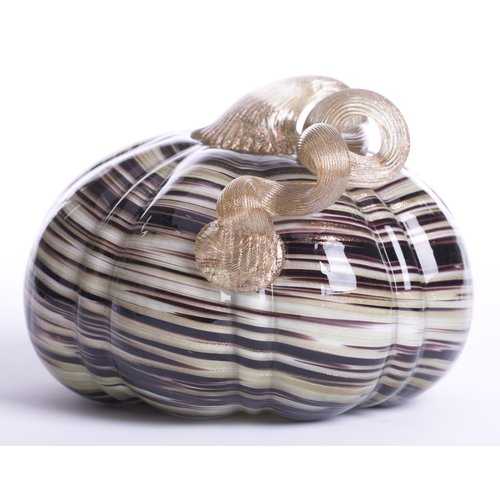 Glitzhome Handblown Stripe Glass Pumpkin Sculpture