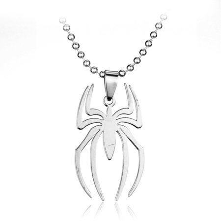 Steel Spider-Man Style Pendant with One Bead ana One Leather Necklace 3-Piece Set  J-311](Spiderman Jewelry)