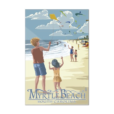 Kite Flyers - Myrtle Beach, South Carolina -  Lantern Press Poster (8x12 Acrylic Wall Art Gallery (Myrtle Beach Beach Stores)