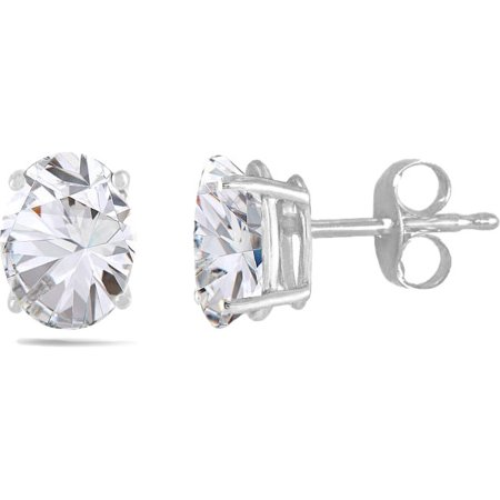 14K White Gold 2.0Cttw Oval-Cut Genuine Gemstone Stud Earrings