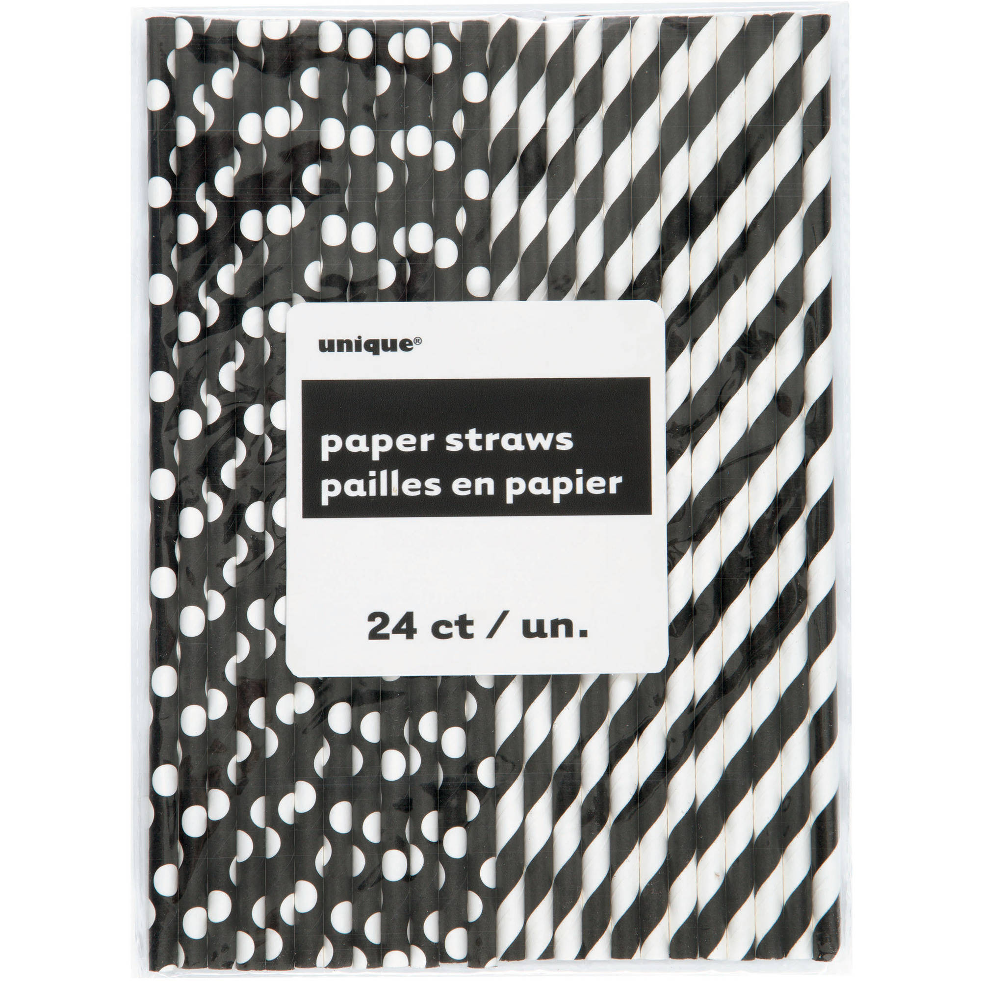 (2 Pack) Polka Dot & Striped Paper Straws, 8.25 in, Black, 24ct