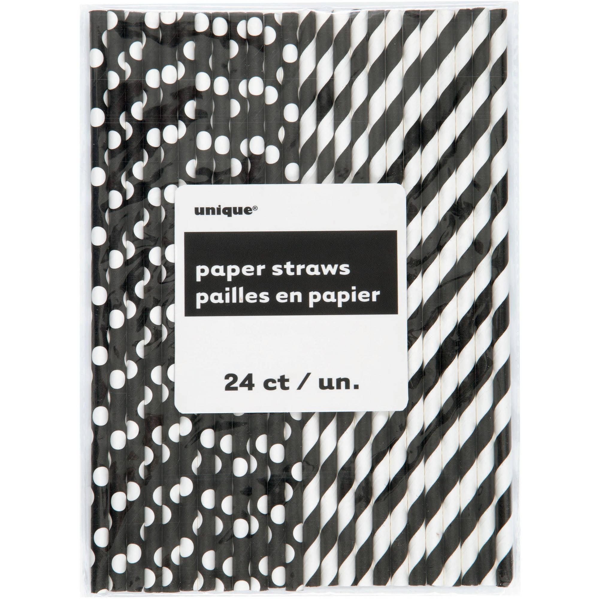 (3 Pack) Polka Dot & Striped Paper Straws, 8.25 in, Black, 24ct
