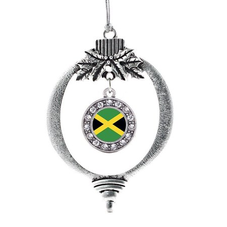 Jamaican Flag Circle Holiday Decoration Christmas Tree Ornament, This 2.5 inch ornament is crafted from