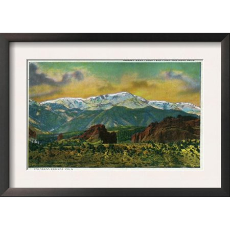 Sunset Over Pikes Peak (Colorado Springs, CO, Sunset over Pikes Peak View from the ... Framed Art Print Wall)