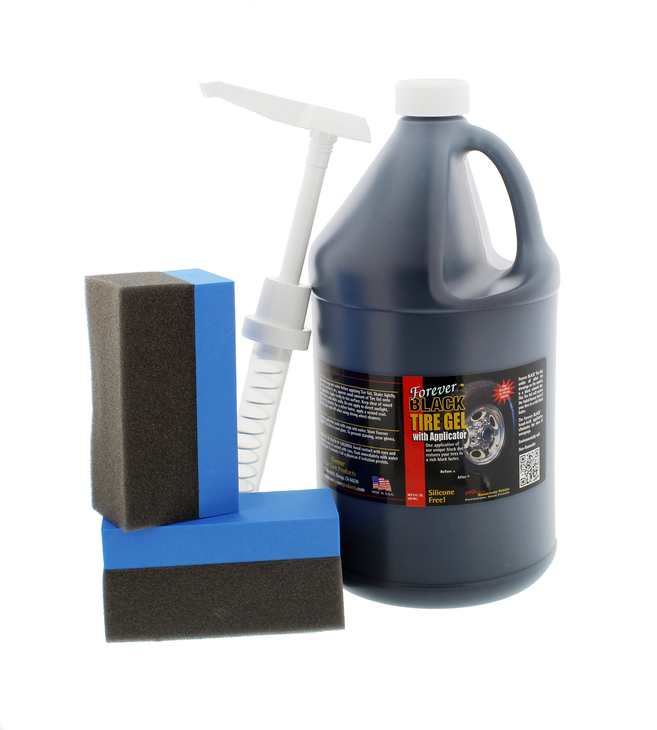Forever BLACK 810 Tire Gel with Pump & 2 Applicators, 1 Gallon