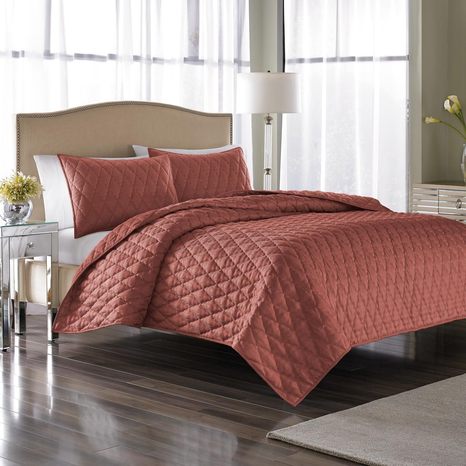 Nicole Miller 3-piece Coverlet/sham Set, Full/queen Size, Coral