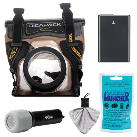 DiCAPac WP-S5 Waterproof Underwater Housing Case with EN-EL14 Battery + LED Torch Kit for Nikon D3300, D3400, D5300, D5500. D5600 Digital SLR Cameras
