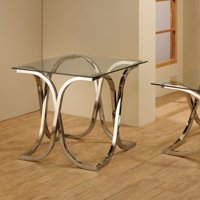 Coaster Furniture Glass Top End Table - Nickel