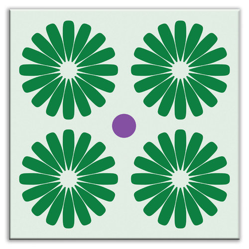Oscar & Izzy Folksy Love 4-1/4'' x 4-1/4'' Glossy Decorative Tile in Pinwheels Green