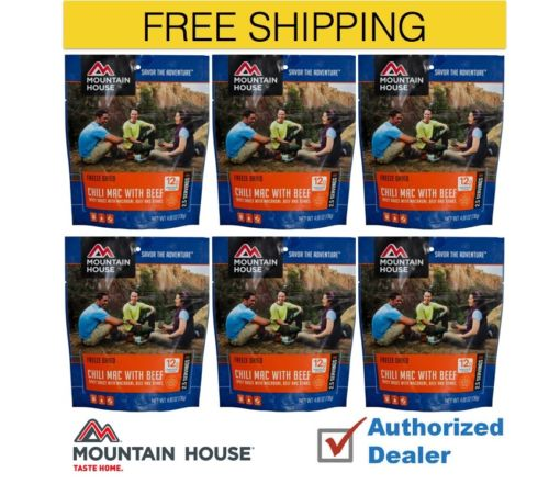 Mountain House Freeze Dried 6 Food Pouches Chili Mac with Beef by Mountain House