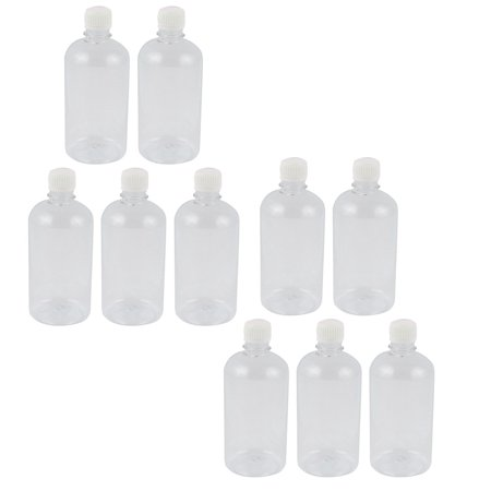 10Pcs 500ml Clear Plastic Seal Reagent Bottle Chemical Graduation Sample - Clear Plastic Bottle