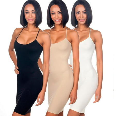 Brooches For Dresses - 3pc Seamless Cami Tunic Dress Slip Camisole Dress Layering Tank Top Spandex Sexy
