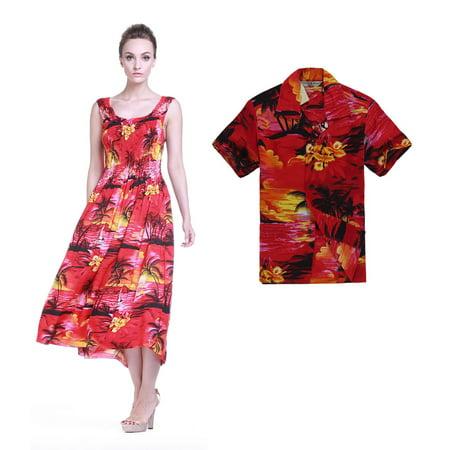 Matching Mother Son Hawaiian Luau Outfit Maxi Tank Plus Size Dress Shirt in  Red Sunset Women Boy 4