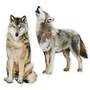 Wolf Decorative Garden Stakes Set, Photorealistic Outdoor Dcor, 2 pc