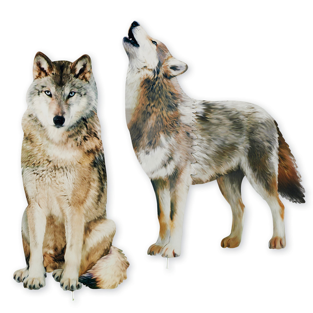 Wolf Decorative Garden Stakes Set, Photorealistic Outdoor Décor, 2 pc