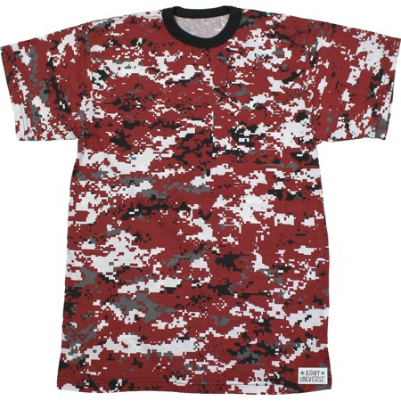 Red Digital Camouflage Short Sleeve T-Shirt with ARMY UNIVERSE Pin - Size  Small (33