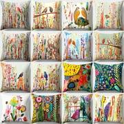 Aofa 18Inch Bird Flower Pillow Case Bed Sofa Living Room Decor Throw Cushion Cover