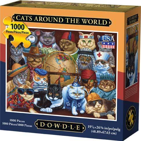 Dowdle Jigsaw Puzzle - Cat's Around the World - 1000 Piece (Cat Jigsaw Puzzle)