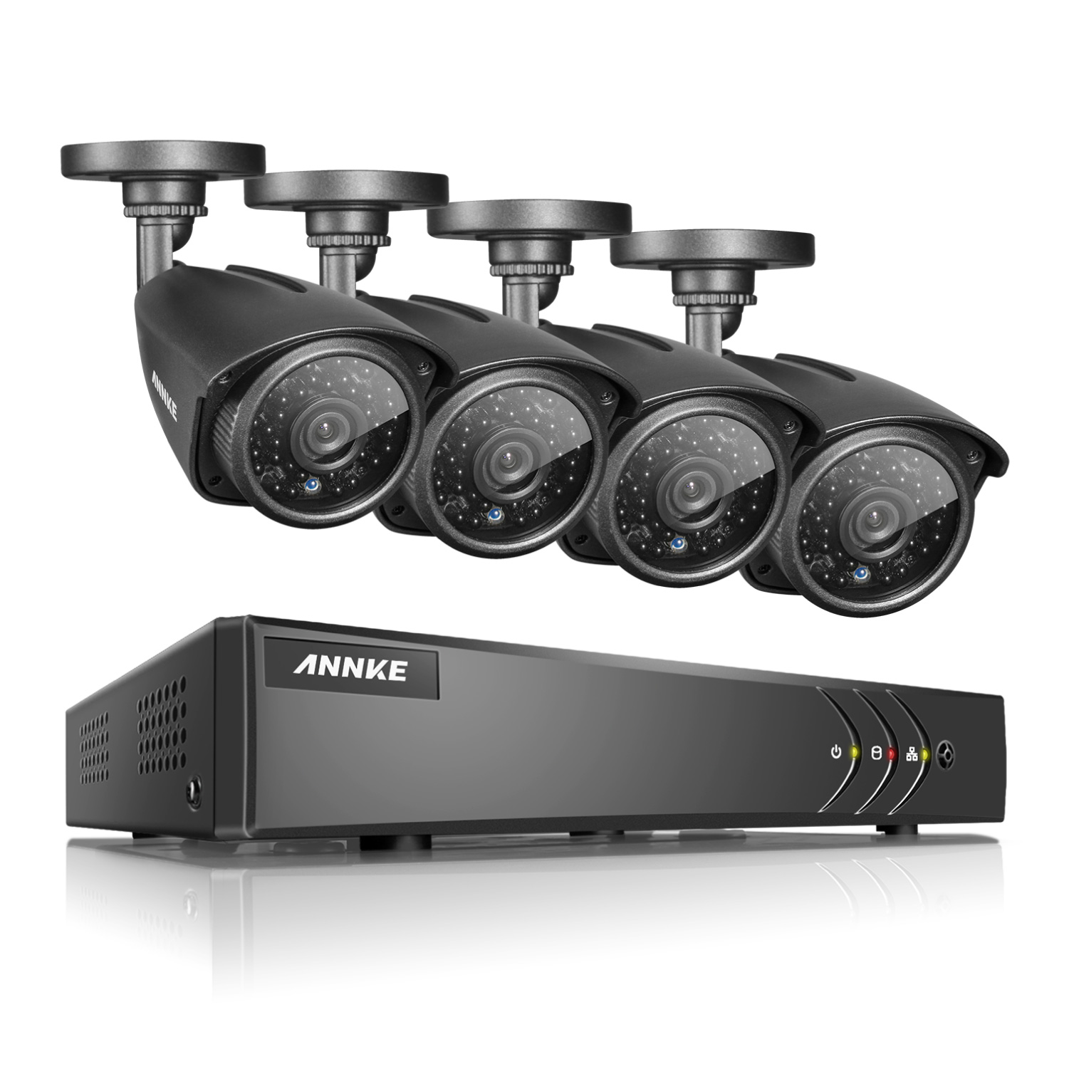 ANNKE 8CH 1080P HDMI DVR Outdoor Dome CCTV Video Home Security 4Pcs 960P Weatherproof Camera System Surveillance Kits With No Hard Drive Disk