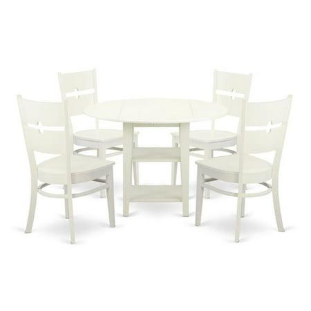 East West Furniture Sudbury 5 Piece Dual Drop Leaf Dining Table Set