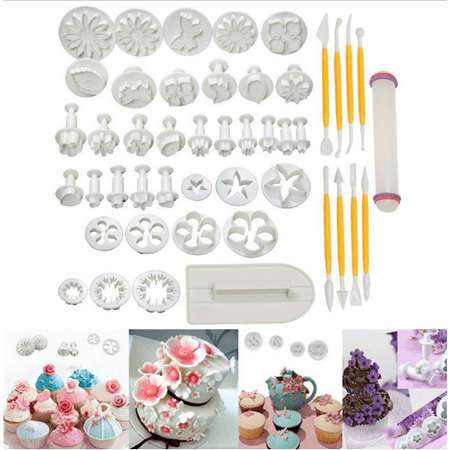 Cake Bakeware Qiilu 46 pcs Cake Decorating Supplies Kit  Flower Fondant Cake Decorating Kit Gumpaste Modelling Tool Icing Plunger Cutter Tool Cookie Mould Cutter Tool Dessert Sugarcraft  DIY - Halloween Fondant Plunger Cutters
