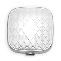 Silver-tone Square 3-Section Diamond Shapes Pillbox with Mirror