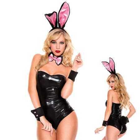 Bunny Kit Adult Costume Accessory Set Pink/Black - Bunny Adult Costumes