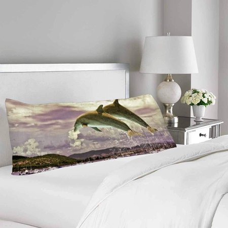 GCKG Ocean Life Dolphin Jumping from Water Body Pillow Covers Pillowcase 20x60 inches, Sea Life Body Pillow Case Protector - image 1 of 2