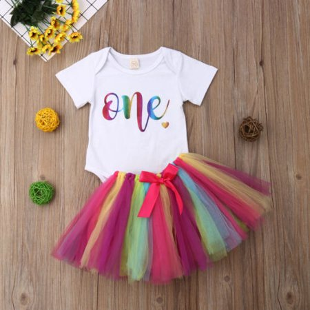 Baby Girls 1st Birthday Outfit Romper Bodysuit Rainbow Tutu Tulle Lace Skirt Dress Bowknot](First Day Of School Outfits)