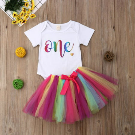 Baby Girls 1st Birthday Outfit Romper Bodysuit Rainbow Tutu Tulle Lace Skirt Dress Bowknot